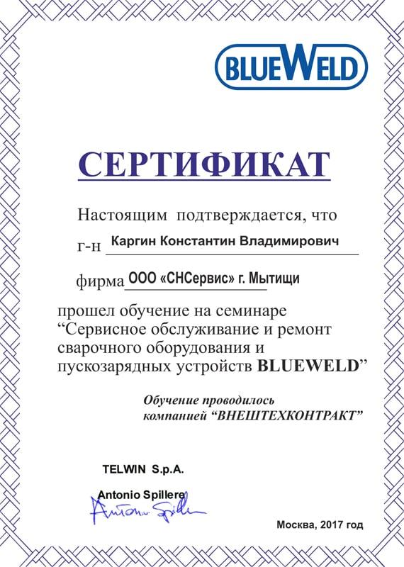 Сертификат сервисного обслуживания Blueweld